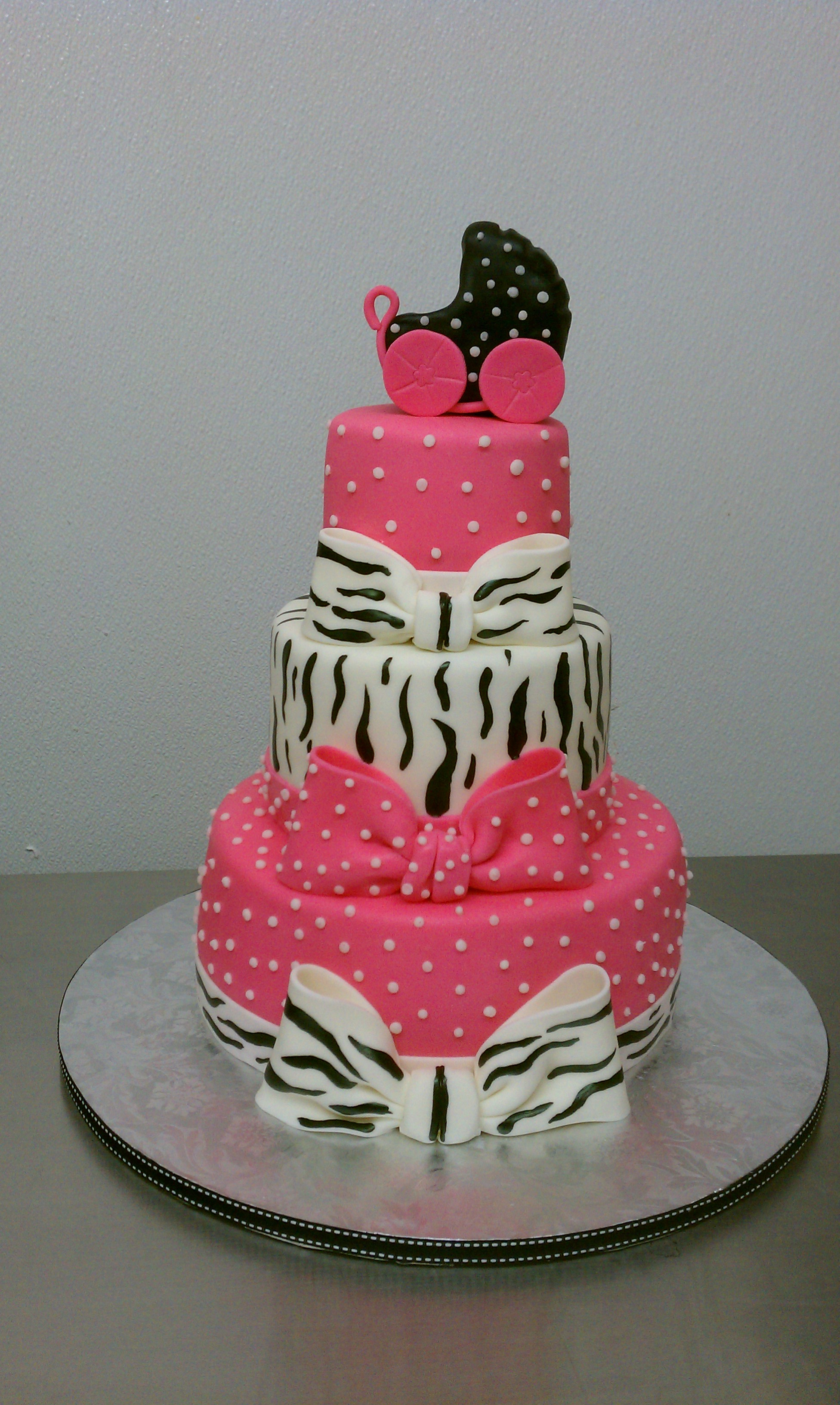hot pink polkadots zebra baby shower cake explore little
