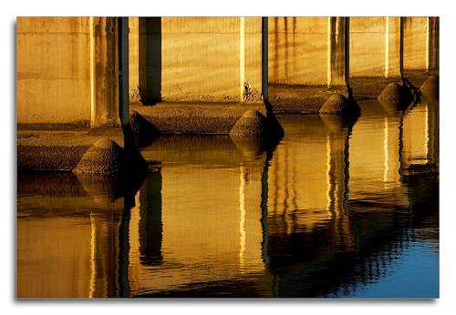 bridge reflection water river concrete 70200 goldenhour 1ds2 pixelpix adpotd
