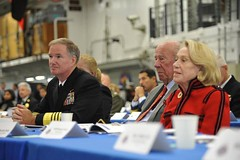 SAN FRANCISCO (Oct. 6, 2011) Adm. Patrick M. Walsh, commander of U.S. Pacific Fleet, and former Secretary of State George P. Schultz and his wife listen to discussion during a Senior Leadership Seminar (SLS) held aboard USS Bonhomme Richard (LHD 6). (U.S. Navy photo by Mass Communication Specialist 2nd Class Phillip Pavlovich)