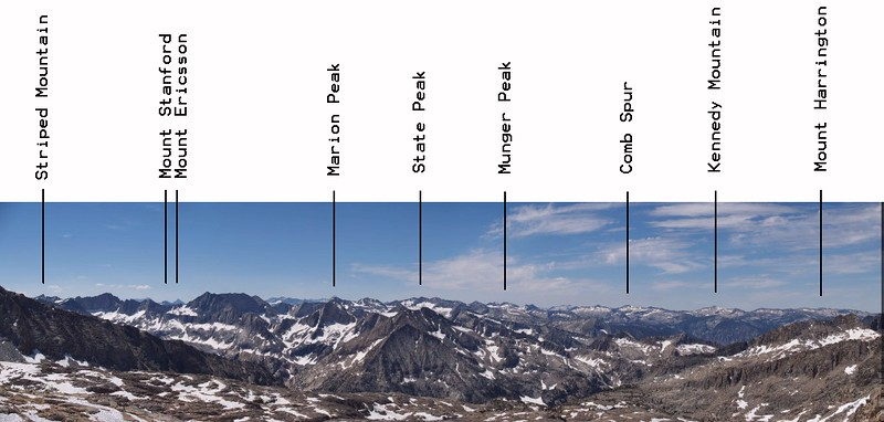 Thunderbolt Pass annotated panorama looking south over Palisade Basin