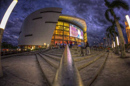 night clouds florida cloudy miami arena american airlines hdr