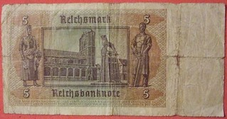 GERMANY 1942 SERIES 5 REICHSMARK PAPER BILL WITH WAFFEN SS RED INK STAMP side B