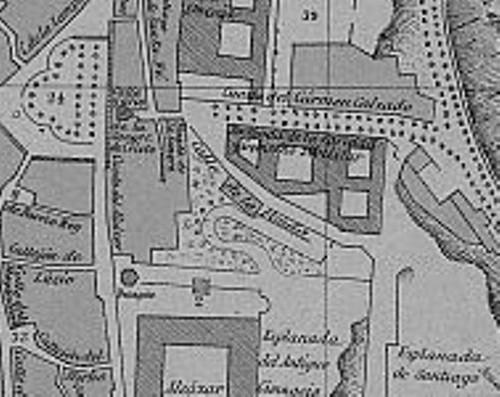 Detalle del plano de Toledo en 1890 por el Vizconde de Palazuelos