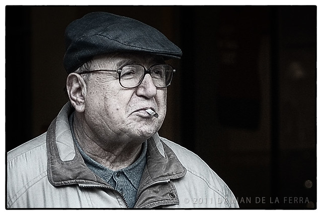 old man with a cigaret