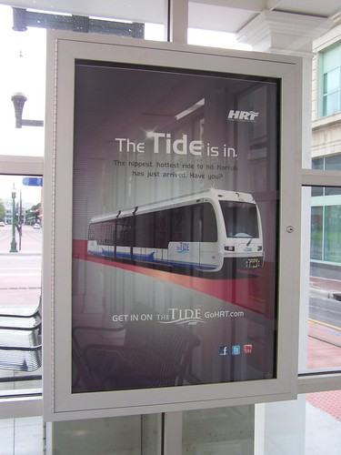 Promotional sign, Norfolk Tide light rail system, Virginia
