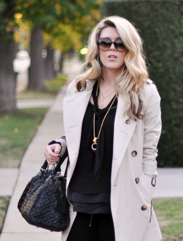 layered black blouses  and  trench coat