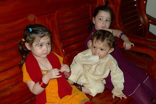 The kids all decked up in their Indian costume