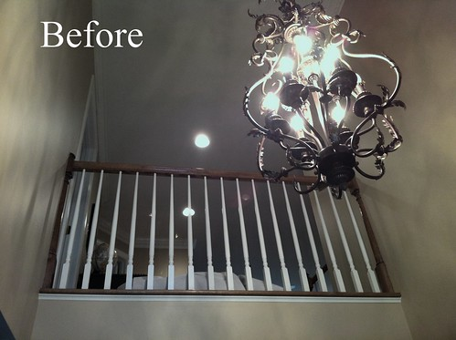 Before and after stair remodel