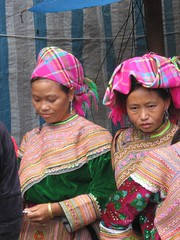 Colorful ladies at Bac Ha market