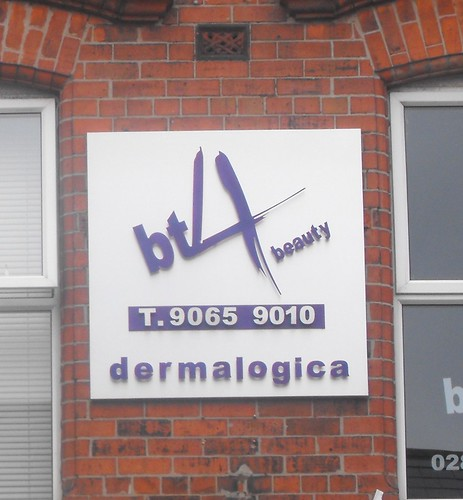 BT 4 BEAUTY SIGN , PLASTIC LETTERING ON FOLDED TRAY BACKROUND