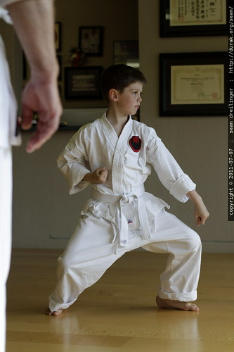 nick performing a goju ryu karate kata for his sensei