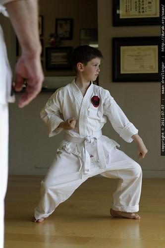 nick performing a goju ryu karate kata for his sensei