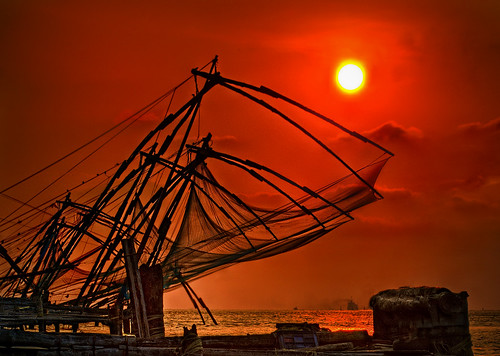 ocean old sunset sun india colour water colors cool fishing ancient colorful artistic rocky kerala exotic fisher cochin enhanced kochi chinesefishingnets exceptionally elitephotography elite~photography vqnight