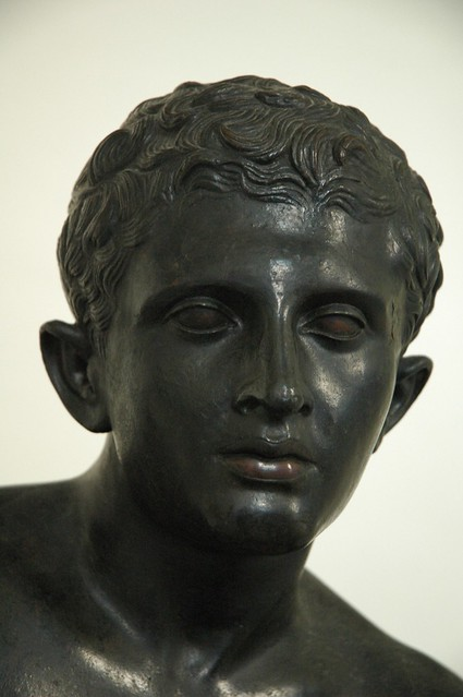 Head of Bronze statue of Hermes at rest. Found at Pompeii ...