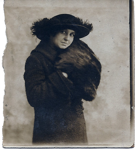 Unknown Woman in Hat & Fur Muffler