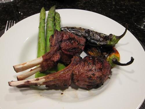 Roasting, wood fire, anaheim chili, lamb chops IMG_8133