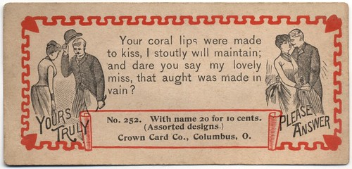 Your Coral Lips Were Made to Kiss, I Stoutly Will Maintain