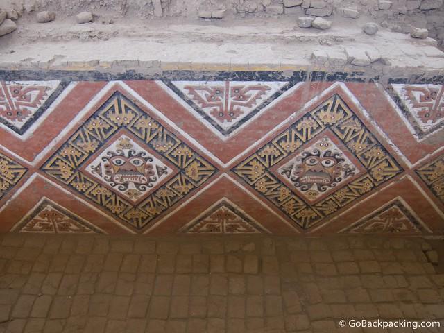 Restored frescoes inside Huaca de la Luna