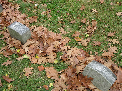 Augusta Forrer Bruen and Luther Barnett Bruen, foot stones, Woodland Cemetery