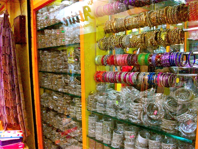 Bangles Galore at a jewelry shop in India