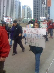 Protest at insurance industry lobbying meeting in Chicago in November, 2009