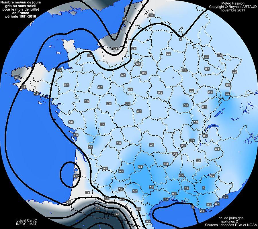 nombre moyen de jours gris ou sans soleil au mois de juillet en France Reynald ARTAUD météopassion