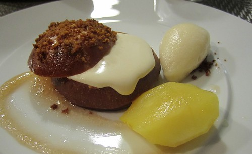 Brioche with bourbon cream, apple sorbet, caramel apple, Journeyman, Somerville