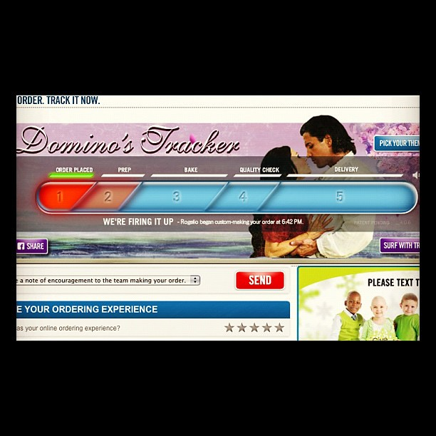 Project 365 324/365: I went with the romantic theme for my @dominos pizza tracker.