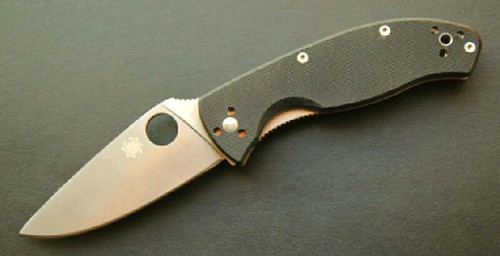 "Spyderco Tenacious Folding Knife 3-3/8"" Plain Blade, G10 Handles"