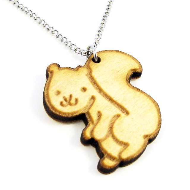 Woodland Squirrel Wood Charm Necklace 2