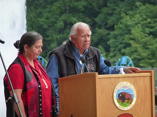 Billy Frank, Jr. and Frances Charles give keynote address at the Elwha Dam Ceremony Photo credit: Kate Benkert (USFWS)