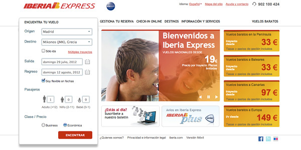Página web de Iberia Express