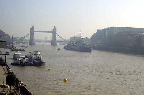 The River Thames with Tower Bridge and HMS Belfast.