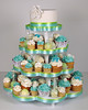 W9108 - aqua green wedding cupcake tower