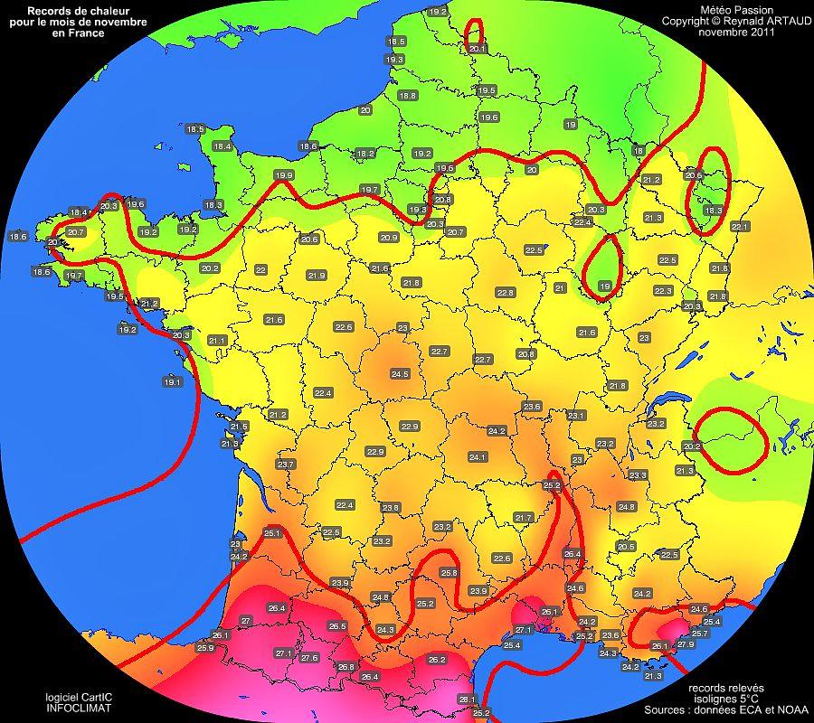 records de douceur ou de chaleur des températures maximales pour le mois de novembre en France Reynald ARTAUD météopassion