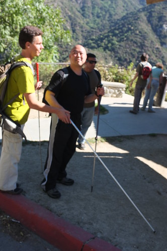 Daniel and Me with long cane in a Parking lot of Big Santa Anita Canyon