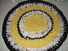 Crocheted rug of shopping bags
