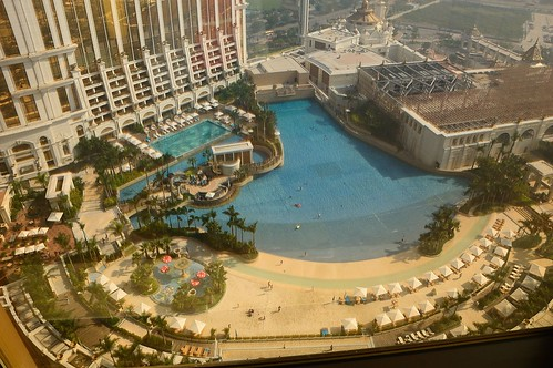 Wave pool and artificial beach at Galaxy Macau