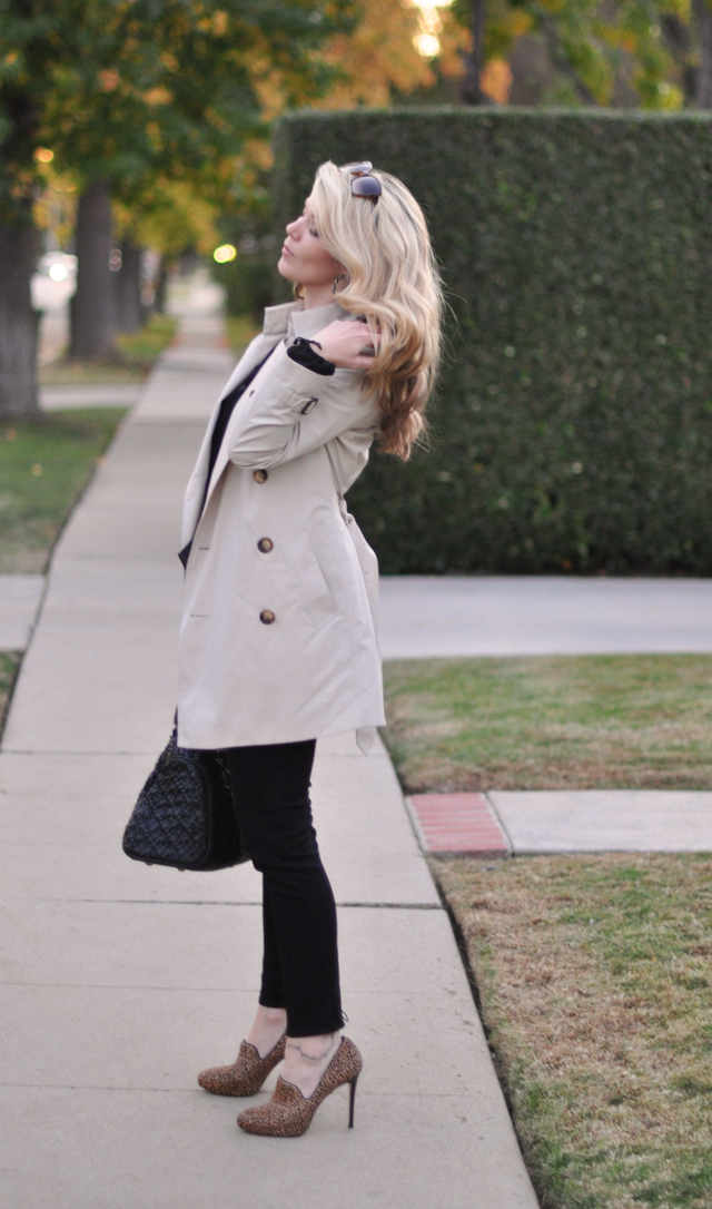 Burberry Trench Coat - Black jeans-animal print shoes