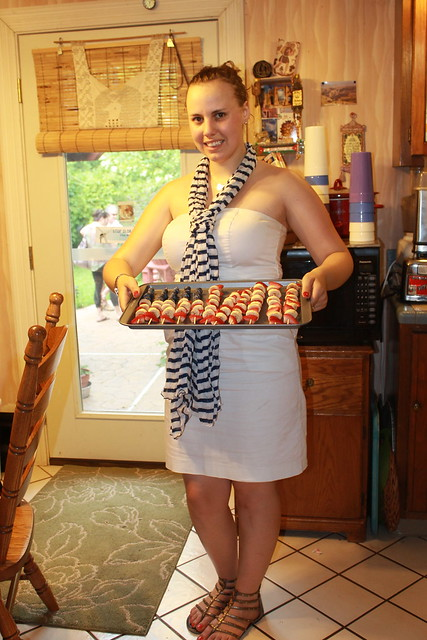 Outfit - white dress, striped scarf (with American flag fruit kabobs)