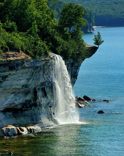 """Spray Falls""  Michigan's Pictured Rocks National Lakeshore by Michigan Nut"