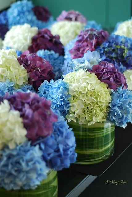 Hydrangea centerpieces blue purple white flickr