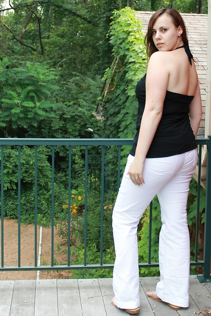 Outfit - rosette halter top, white jeans