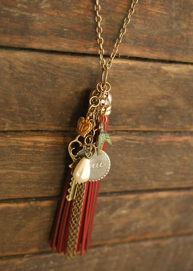 GDO Fall 2011 Wine leather tassel necklace