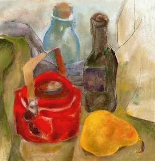 Still life with red teapot