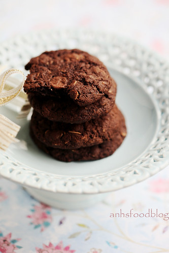 Double chocolate choc chip oat cookies