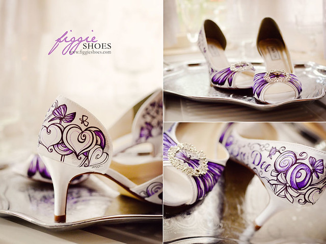 Dee A Personalized Purple Butterfly Lollipops Bridal Shoes