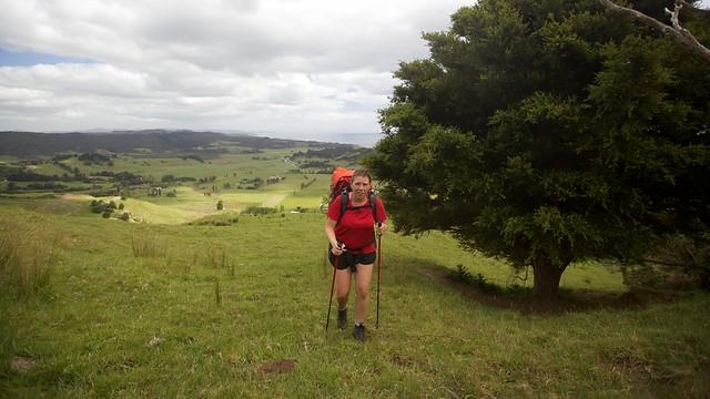 Nicky climbing hill above Pakiri