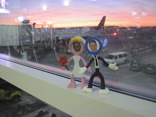 Cake toppers getting ready to board the plane