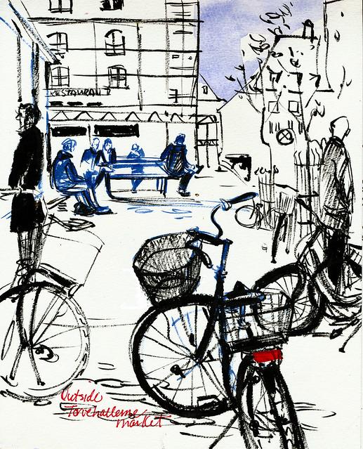 Copenhagen: bikes at market